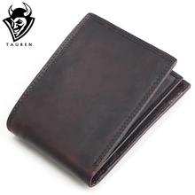 TAUREN 2017 New Men Wallet 100% Genuine Leather Crazy Horse Zippper Coin Pocket Top Grain Cow Leather Wallet Men