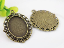 10pcs 18x25mm Inner Size Antique Bronze Flowers Style Cameo Cabochon Base Setting Charms Pendant necklace findings (C3-03)(China)