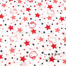 140X100cm Hello Kitty Red White Stars White Cotton Fabric for Baby Girl Clothes Bedding Set Quilting Curtain DIY-AFCK784(China)