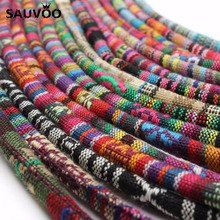 5 Meter Multi Colors Cotton Cord Handmade 6mm Round Fabric Ethnic Rope Textile Wrap Embroider Cords for DIY Bracelets Making(China)
