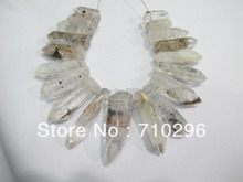 Natural Clear quartz crystal point pendants gem stone jewelry necklace diy 5sets/lot gem stone jewelry