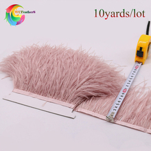 High Quality 10yards Dyed Leather pink Ostrich Feather Trims Fringe Natural Ostrich feather Ribbon Trim for Skirt/Dress/Costume(China)