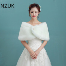 NZUK Hot Sale Cheap Fashion Wedding Jacket Bride Wraps Winter Wedding Dress Wraps Bolero Bridal Coat Accessories Wedding shawl(China)