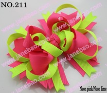 free shipping 500pcs 4.5' neon hair bows Boutique Funky Hair Bow layer hair bows girl hair bow clips(China)