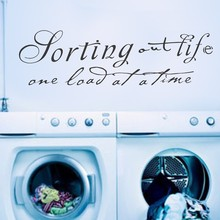 "Laundry Room - Sorting Out Life one load at a time - Vinyl Wall Mural Removable Stickers Wall Art Decal 58"" x 17"" L"