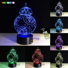 Free Shipping 1 Set Star Wars BB-8 Night Lamp Creative Gifts 3D Night Light Robot USB Led Table Desk Lampara Home Decor Bedroom