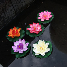1pcs Artificial Lotus Flower EVA Lotus Flowers Water Lily Floating Pool Plants Wedding Garden Decoration Approx 10cm(China)