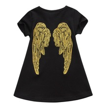 Baby Girl Dress 2017 Summer Short Sleeve Striped Embroidered angel wing Dresses for Girls Clothes Fashion Kids Children Clothing