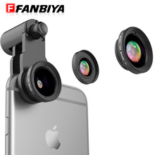 FANBIYA Mini 2in1 Cell phone Lens Camera 10x Macro lens Kit 0.65x Wide Angle Universal Telephone Mobile Lenses for Smartphone(China)