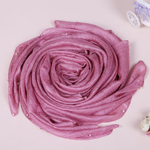 Women Solid Color Linen Silk Pearl Plain Shawls Popular Soft Muslim Hijabs Echarpe Foulard Head Wrap Scarves/Scarf 180*110cm