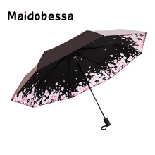 New Women Printing Umbrella Three Folding Sunscreen Vinyl Creative Cherry Flower Colorful Sunny And Rainy Dual Use  Umbrella