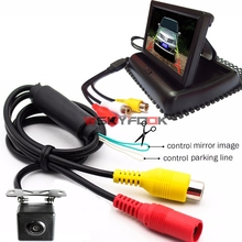 180 Degree Super View Angle CCD Car Front/ Rear View Backup Camera With 4.3 Inch Foldable LCD Monitor Screen- All In One(China)