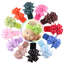 12 Color For 6 Months To 3 Years Childern /  Girls Lace Headband Chiffon Flower New born Hair Weave Band Kids Hair Accessories