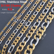 Width 3.0mm/4.5mm/6mm/7.5mm Statement Stainless Steel Necklace Vintage Figaro Chains Women Gold and Silver Tone Wholesale(China)