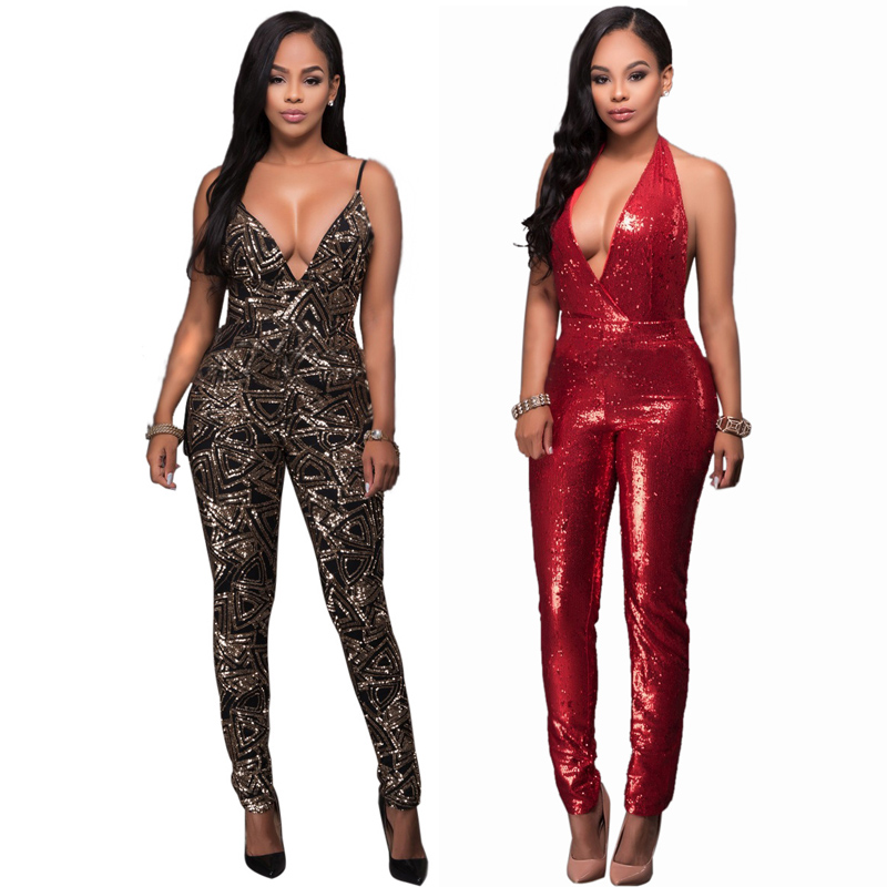 2017 hot sexy deep v women jumpsuit sleeveless club party bodysuit women bandage jumpsuit backless sequined jumpsuits SMR8351