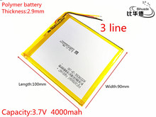 3 line Free shipping Polymer lithium batteries 3.7V 4000mAh 2990100 For Onda Rechargeable Li-ion Cell 7 inch 8 inch 9inch(China)