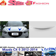For Mazda CX-5 CX5 2012 2013 2014 car garnish cover ABS chrome panel front engine Machine grille hood stick lid trim lamp 1pcs