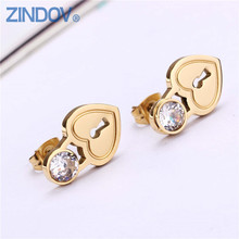 Gold Color CZ Stud Earrings Women Stainless Steel Heart Tif Key Brand Jewelry Girl Silver Rose Gold Simple Hot Brincos Big Sales(China)