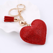 6 Colors Love Heart Pendant Key Chains For Girls Tassel Design Red Crystal Brilliant Bag Pendant Jewelry Delicate Key Ring