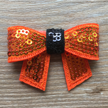 "50pcs/lot 2"" Halloween Orange/Black Knot Applique Neon Sequin Bow Without Clips Hair Bows Hair Accessories Headwea"