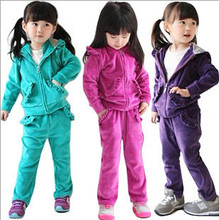 Girl clothing sets New 2015 brand baby girls clothing sets spring autumn velvet suit for girl casual sets kid's sports suit