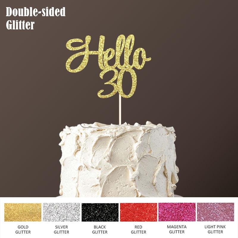 Thirty Rose Gold Glitter Card Cake Topper Cake Decoration 30th Cake Decor