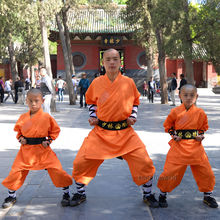 Orange Shaolin Monk Suit Kung fu Martial arts Clothes Wushu Tai chi Uniform(China)