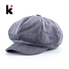 Solid Corduroy Newsboy Caps Men Casual Cotton Octagonal Hat For Women Autumn And Winter Berets Girls Casquette Gavroche Boina(China)