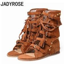 c5677a3f0af Vintage Design Women Wedge Sandals Brown Suede Bohemian Beach Summer Shoes  Woman Fashion Studded Fringe Sandalias Mujer 2018