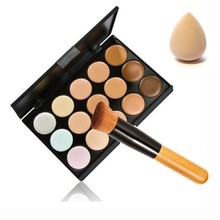 2017 New 15 Color Contour Face Makeup Concealer Palette Corrector Make up Base Pallete + Sponge Puff + Powder Brush Set Cosmetic(China)