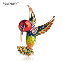 Madrry Cute Enamel Esmalte Bird Brooches For Women Man Kids Crystals Scarf Hijab Lapel Pin Sweater Coat Clips Spille Joyas(China)