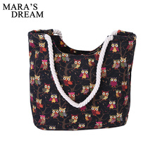 Mara's Dream 2017 Cartoon Owl Printed Shoulder Bag Women Large Capacity Female Shopping Bag Canvas Handbag Summer Beach Bag Lady