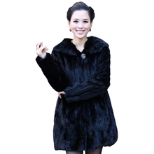 Genuine Piece Mink Fur Coat Jacket Turn Down Collar Winter Genuine Women Fur Outerwear Plus Size 3XL 4XL 5XL LF4323(China)