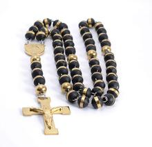 High Quality New Fashion Rosary Chain Necklace 316L Stainless Steel Gold Religous Beads Crucifix Cross Charm Jewelry(China)