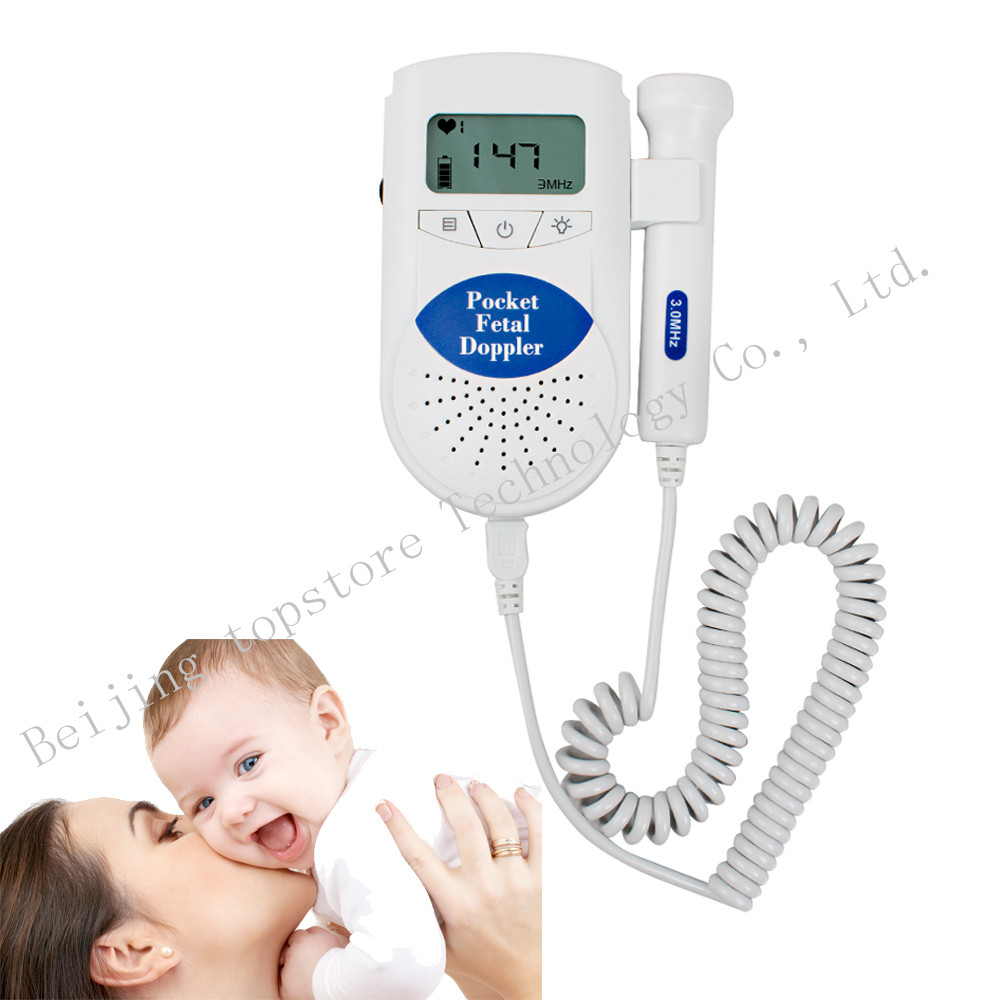 100% High Quality 3MHz Baby Heart Rate Monitor Fetal Doppler Detector Fetal Heartbeat Detector LCD Screen<br><br>Aliexpress