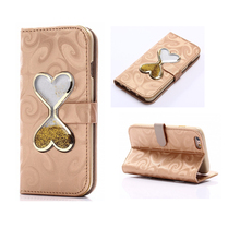 3D Hourglass Quicksand Leather Case For iPhone 6 6S Plus 5 5S Luxury Glitter Bling Flip Wallet Case Card Slots Coque Gold  B631