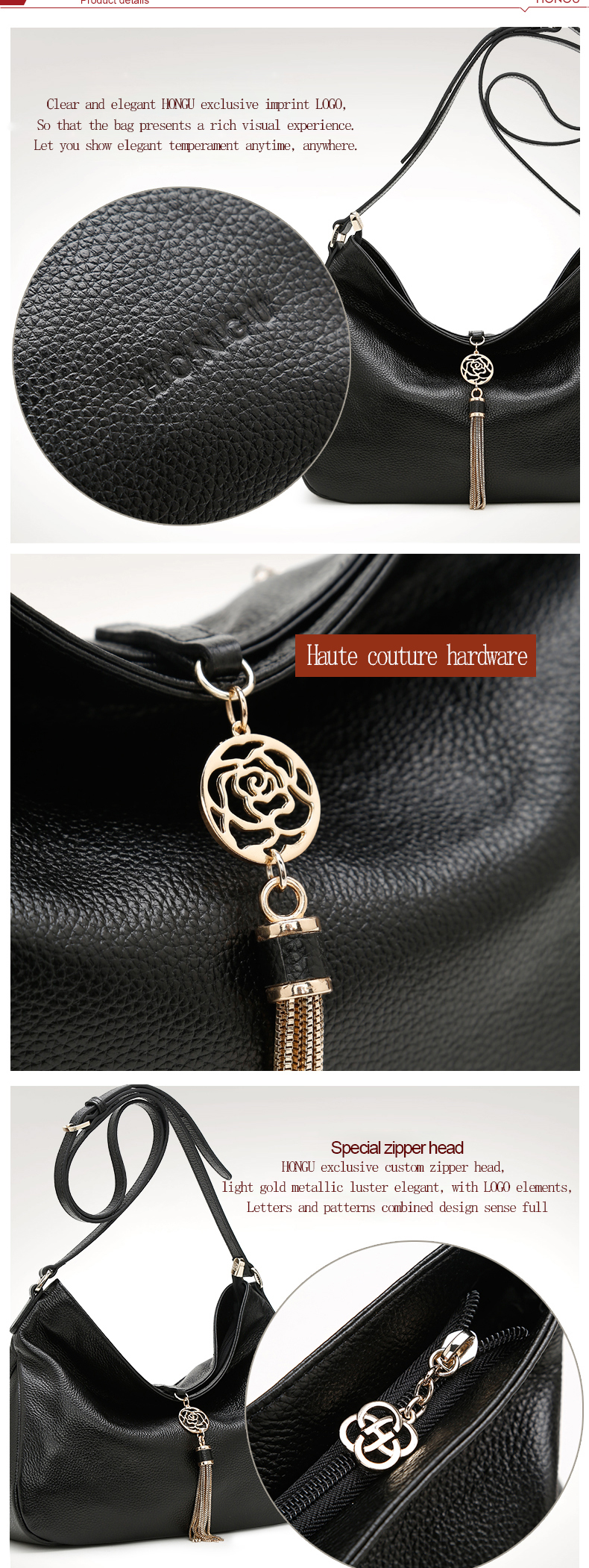 Genuine Leather Women's handbags Luxury Ladies Solid Bag Business Tote Famous Designer zippo Tassel Black Single Shoulder Strap