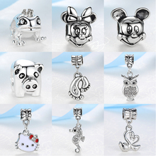 2017 Women Silver Bead Charms Animal World All Kinds Of Lovely Animals Pendant Fit Pandora Bracelets Bangle Necklace DIY Jewelry