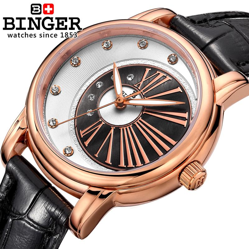Switzerland Binger Womens watches diamond luxury top c;ock leather strap quartz waterproof Wristwatches B1137-3<br>