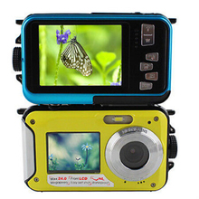 "3 colors 2016 New 1080P HD Waterproof Digital Camera 24MP 2.7"" TFT photo camera 16x Zoom Double Screen Video Camcorder"