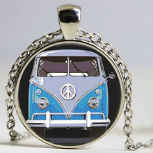 Hot glass dome jewelry Vintage Blue Hippy Bus Photo Pendant Blue Hippy Bus Photo Necklace art gift for children(China)