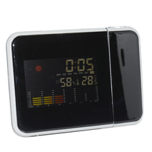 Portable LED projector backlit LCD Screen Alarm Clock Weather Station Clock