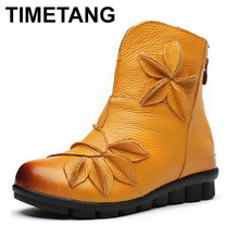 Buy TIMETANG Women's Ankle Boots Soft Flats Shoes Fashion Women Autumn Winter Genuine Leather Shoes Female Plus Big Large Size C307 for $25.48 in AliExpress store