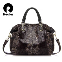 REALER brand genuine leather tote bag female fashion serpentine prints leather handbags women boston bag large shoulder bag