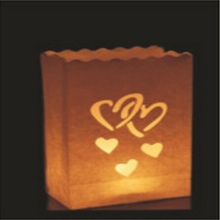 New 100pcs/lot Romantic Heart shape Candle Bag Wedding Retardant Tea Light Paper Bags Luminaries Lantern For Birthday Party