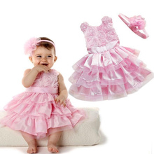New 2015 Cute Kids Rose Pink Rosette Girl Cake Dress Easter Flower Baby Girls Princess Dress Wedding with Headband(China)