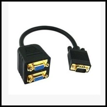 VGA Y Splitter Adapter Cable 1 In 2 Out   RGB VGA SVGA Male to 2 VGA HD 15 Female Splitter Adapter Extension Cable Black