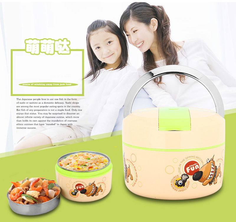 Cute Cartoon 304 Stainless Steel Lunchbox Thermal Insulation Food Storage Container Portable Handle Picnic Bento Lunch Box 8