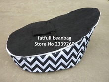 COVER ONLY, NO FILLINGS - black chevron with black seat baby bean bag, zigzag pattern kids toddlers beanbag sofa seat