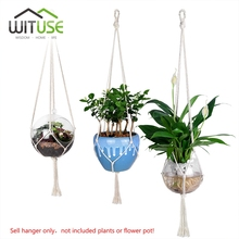 WITUSE S+M+L Plant Hanger 4Legs Rope Flowerpot Hanging Plant Hangers For Indoor Outdoor Garden Wall Decoration(China)